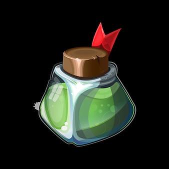 Vecchia bottiglia magica, pozione verde magica in vetro o bevanda liquida di veleno di alchimia o chimica.