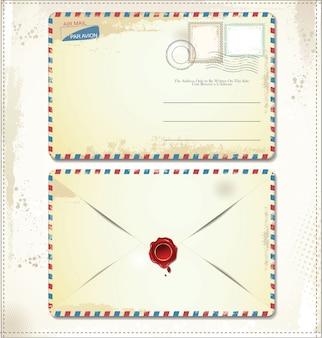 Vecchia busta di affrancatura con francobolli e sigillo di cera