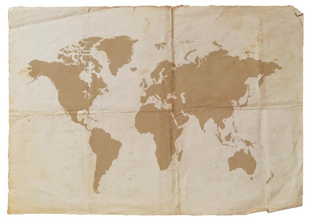 Vecchia carta con mappa del mondo