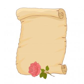 Vecchia carta pergamena con bella rosa