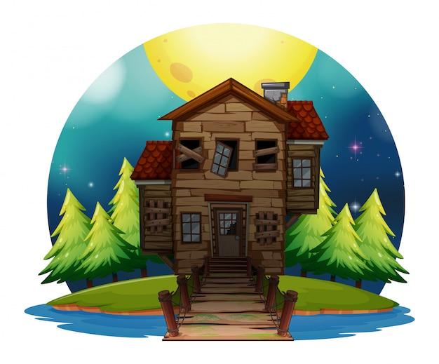 Vecchia casa di legno sull'isola