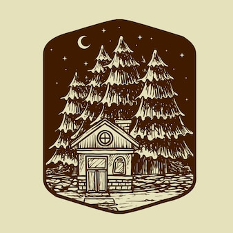 Vecchia casa e alberi nell'illustrazione di scape di notte