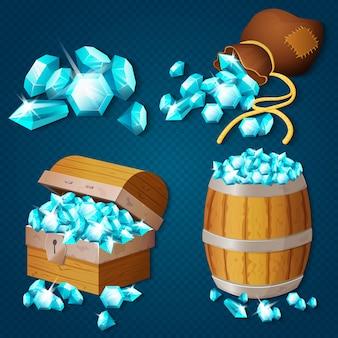 Vecchia cassa di legno, barile, vecchia borsa con gemme di diamanti. illustrazione del tesoro in stile gioco.