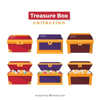 Vecchia collezione di scrigni del tesoro con design piatto