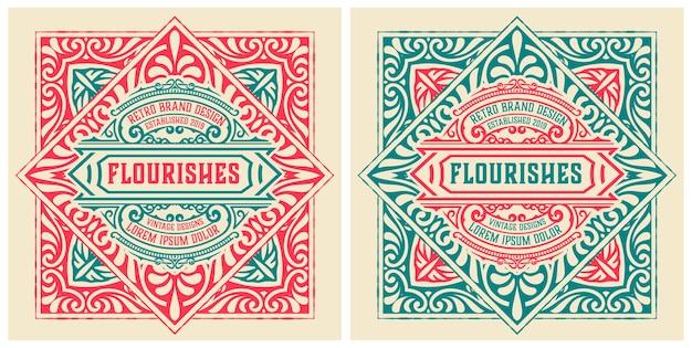 Vecchia etichetta con dettagli floreali. elementi per strati.