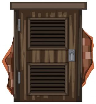 Vecchia finestra di legno su brickwall