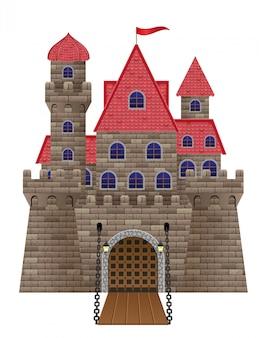 Vecchia illustrazione antica di vettore del castello di pietra