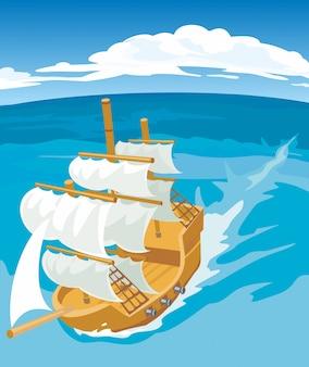Vecchia illustrazione della nave a vela