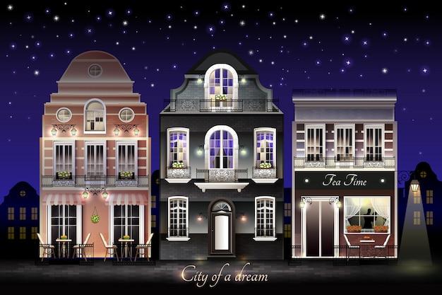 Vecchia illustrazione di case europee