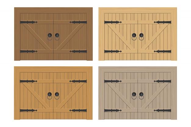 Vecchia illustrazione di legno della porta isolata su bianco