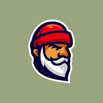 Vecchia illustrazione vettoriale logo testa di lumberman
