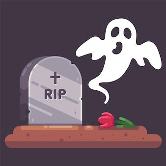 Vecchia lapide con un fantasma e un cimitero di notte