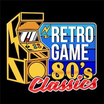 Vecchia macchina da gioco classica di giochi retrò per giocare a videogiochi arcade retrò per giocatori e cultura geek gamepad vintage. illustrazione di design stampa retrò per abbigliamento t-shirt