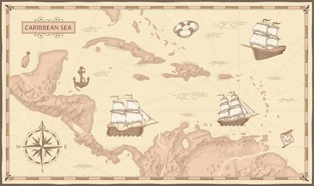 Vecchia mappa del mar dei caraibi. rotte antiche dei pirati, navi di pirati del mare di fantasia e illustrazione di mappe dei pirati d'epoca