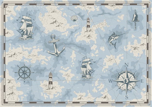 Vecchia mappa nautica vintage