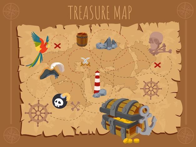 Vecchia mappa pirata su carta antica