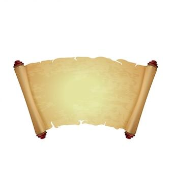 Vecchia pergamena isolata su bianco