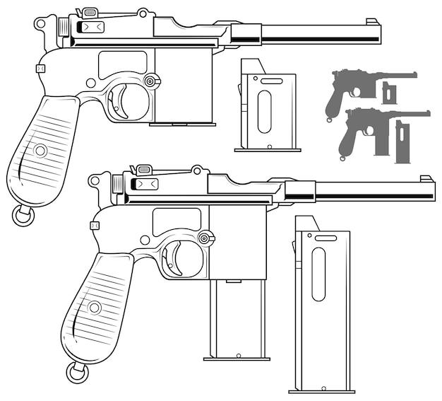 Vecchia pistola grafica in bianco e nero con clip di munizioni