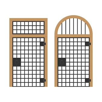 Vecchia porta con l'illustrazione delle barre d'acciaio