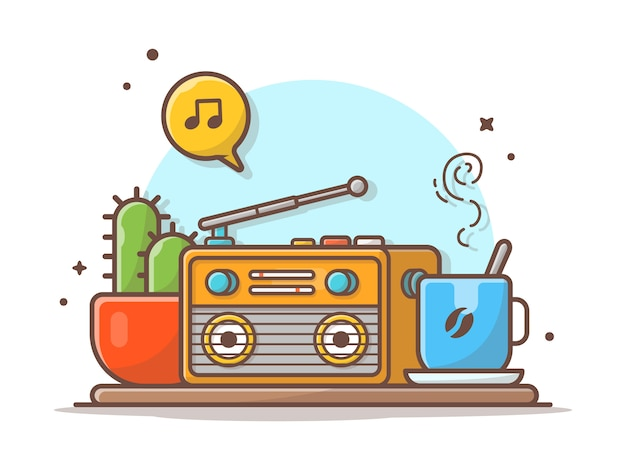 Vecchia radio con illustrazione dell'icona di vettore del caffè, della pianta di cactus, della nota e della melodia di musica. bianco di concetto dell'icona di musica isolato