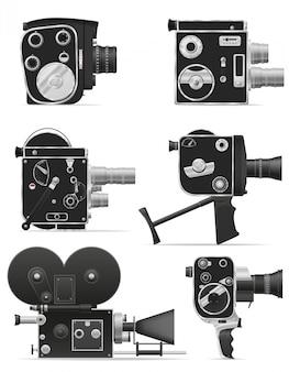 Vecchia retro illustrazione d'annata di vettore della videocamera di film