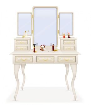 Vecchia retro illustrazione di vettore della mobilia della tavola di vanità