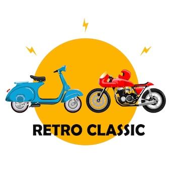 Vecchia scuola classica di vespa japstyle del motociclo retro