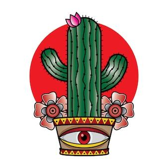 Vecchia scuola del tatuaggio del cactus di vettore