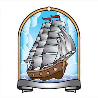 Vecchia scuola del tatuaggio di vettore della nave