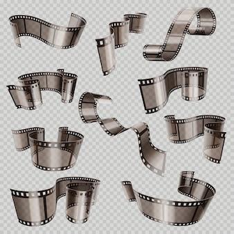 Vecchia striscia di pellicola di film 3d, scorrevole di foto isolata