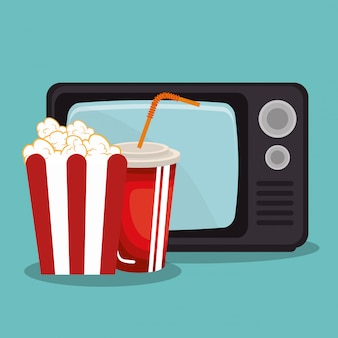 Vecchia tv con icone del cinema