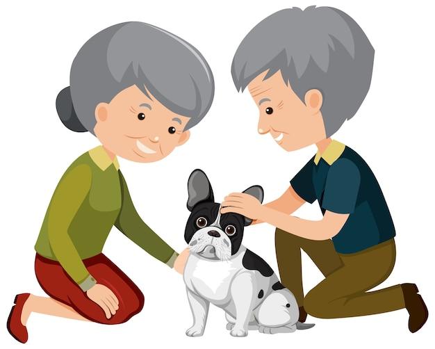 Vecchie coppie che giocano con il simpatico cane su sfondo bianco