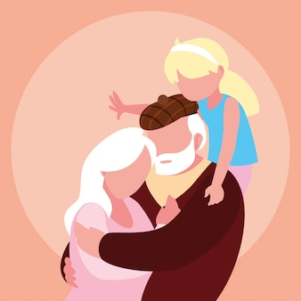 Vecchie coppie sveglie abbracciate con la nipote