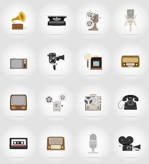 Vecchie icone piane di retrò vintage multimediale.