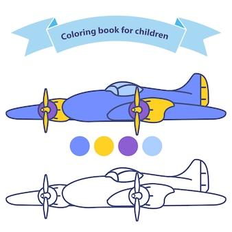 Vecchio aereo aereo per libro da colorare per bambini