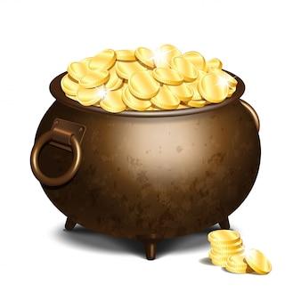 Vecchio calderone di ferro pieno di monete d'oro