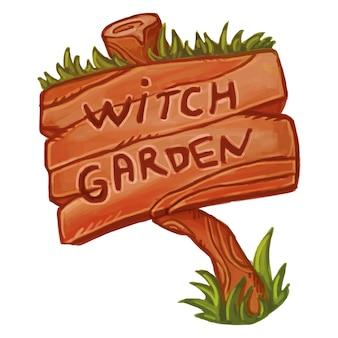 Vecchio cartello in legno che dice witch garden. carino illustrazione magica. stregoneria wicca.