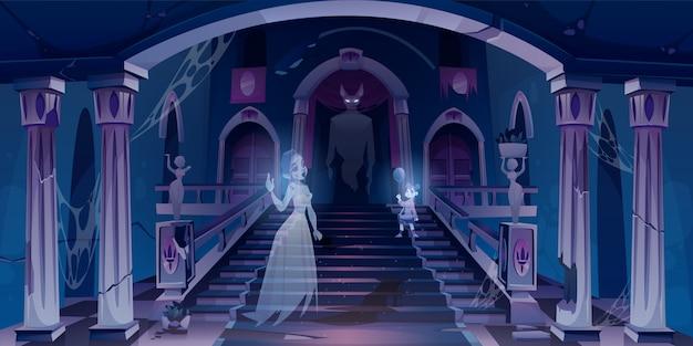 Vecchio castello con i fantasmi che volano nella stanza spaventosa scura