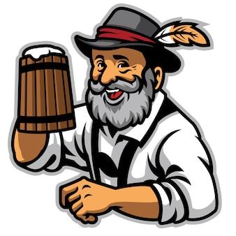 Vecchio che indossa abiti tradizionali tedeschi e tiene la birra