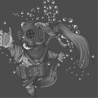 Vecchio costume da sub con mostro di anguilla che mangia il sub in mare profondo
