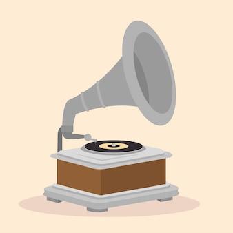 Vecchio disegno dell'icona isolato grammofono