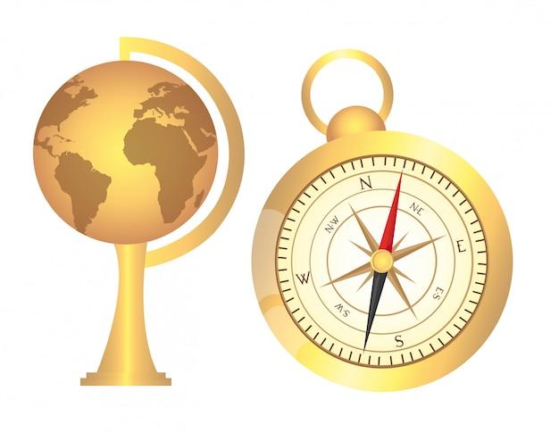 Vecchio globo d'oro con bussola d'oro su sfondo bianco vettoriale