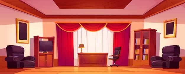 Vecchio interno di lusso dell'ufficio con mobilia di legno