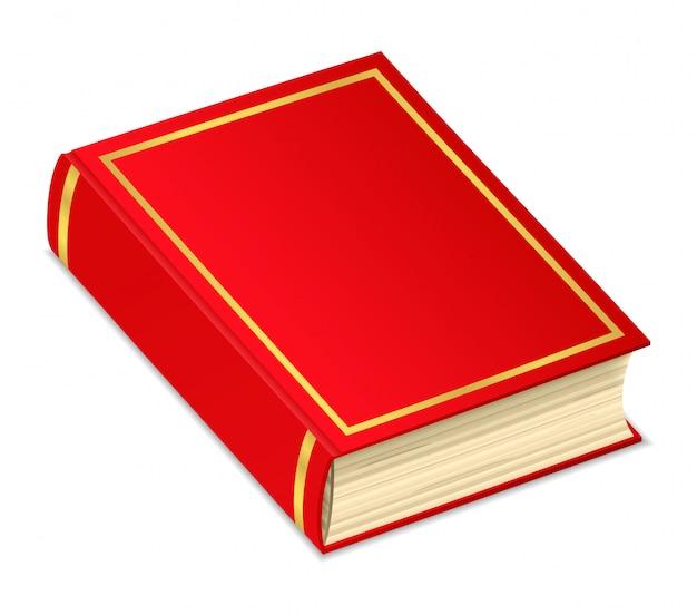 Vecchio libro rosso su sfondo bianco