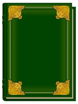 Vecchio libro verde corano. sacro corano. libro chiuso con rivestimento dorato