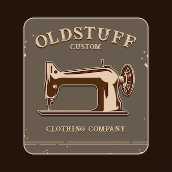 Vecchio logo della roba con l'illustrazione della macchina per cucire