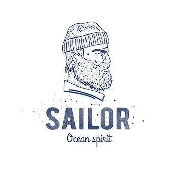 Vecchio logo o etichetta del marinaio. marinaio con la barba.