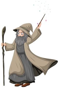 Vecchio mago con bacchetta magica in stile cartone animato isolato