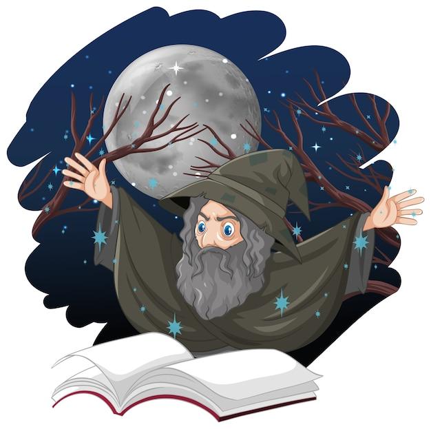 Vecchio mago con stile del fumetto di incantesimo e libro isolato su priorità bassa bianca