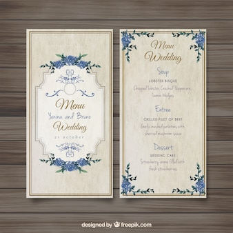 Vecchio menu di nozze stile